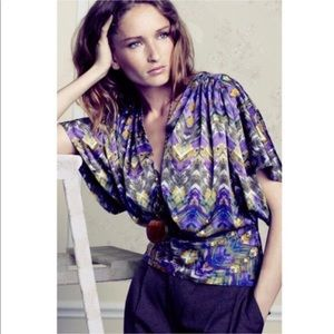 fei Anthropologie Geo Feather Print Top Blouse